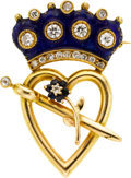 Estate Jewelry:Brooches - Pins, Victorian Diamond, Sapphire, Enamel, Gold Pendant-Brooch, Jacques& Marcus. ...