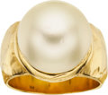 Estate Jewelry:Rings, South Sea Cultured Pearl, Gold Ring. ...