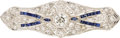 Estate Jewelry:Brooches - Pins, Art Deco Diamond, Synthetic Sapphire, Platinum, White Gold Brooch....