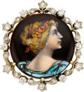 Estate Jewelry:Brooches - Pins, Diamond, Painted Portrait, Gold Brooch. ...