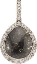 Estate Jewelry:Pendants and Lockets, Black Diamond, Diamond, White Gold Pendant. ...