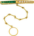 Estate Jewelry:Cufflinks, Gentleman's Diamond, Emerald, Gold Tie Bar. ...