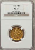Liberty Half Eagles: , 1846-D $5 AU55 NGC. NGC Census: (17/16). PCGS Population (7/8).Mintage: 80,294. Numismedia Wsl. Price for problem free NGC...