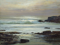 ROBERT WILLIAM WOOD (American, 1889-1979) Silver Waves Oil on canvas 12 x 16 inches (30.5 x 40.6
