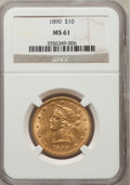 Liberty Eagles: , 1890 $10 MS61 NGC. NGC Census: (132/56). PCGS Population (62/97).Mintage: 57,900. Numismedia Wsl. Price for problem free N...
