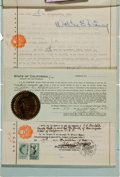 Movie/TV Memorabilia:Autographs and Signed Items, A Walt Disney Signed Power of Attorney Authorization, 1930....