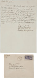 "Autographs:Others, 1950 ""Shoeless Joe"" Jackson Signed Envelope--Two and a HalfAutographs!..."