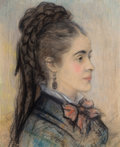 Fine Art - Painting, European:Other , PIERRE-AUGUSTE RENOIR (French, 1841-1919). Portrait d'une jeunefemme, circa 1868-70. Pastel on paper. 17-3/4 x 14-1/2 i...(Total: 2 Items)