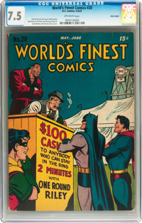 World's Finest Comics #28 Billy Wright pedigree (DC, 1947) CGC VF- 7.5 Off-white pages