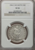 Seated Half Dollars, 1866-S 50C No Motto VF25 NGC. WB-1....