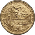 Expositions and Fairs, 1939 Golden Gate Exposition, Bay Bridge MS67 NGC. Brass, 32mm.California....