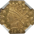 California Fractional Gold: , 1875 25C Indian Octagonal 25 Cents, BG-797, Low R.4, MS65 NGC. NGCCensus: (1/0). PCGS Population (20/1). (#10624)...