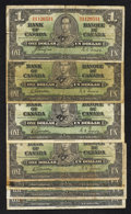 Canadian Currency: , BC-21c $1 1937 Four Examples. BC-21d $1 1937 Three Examples.. ...(Total: 7 notes)