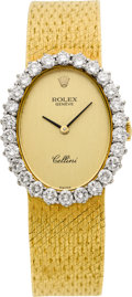 Timepieces:Wristwatch, Rolex Lady's Gold Ref. 4614 Diamond Bezel Cellini, circa 1981. ...