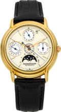 Timepieces:Wristwatch, Jaeger LeCoultre Gold Odysseus Automatic Perpetual Calendar withMoon Phase. ...