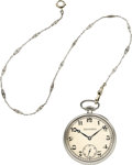 Timepieces:Pocket (post 1900), Patek Philippe & Co. Fine Platinum Pocket Watch With Chain,circa 1922. ...