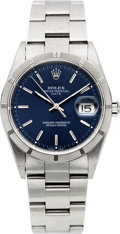 Timepieces:Wristwatch, Rolex Ref. 15210 Gent's Blue Dial Oyster Perpetual Date, circa 2001. ...