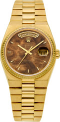 Timepieces:Wristwatch, Rolex Ref. 19018 Gold Oysterquartz Day/Date President With Mahogany Dial, circa 1980. ...
