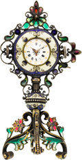 Timepieces:Clocks, Swiss Silver Gilt & Enamel Miniature Clock, circa 1880's. ...