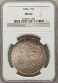 Morgan Dollars: , 1886 $1 MS64 NGC. NGC Census: (48298/25530). PCGS Population (38512/16810). Mintage: 19,963,886. Numismedia Wsl. Price for ...