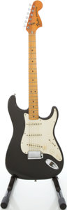 Musical Instruments:Electric Guitars, 1977 Fender Stratocaster Black Solid Body Electric Guitar,#S776282....