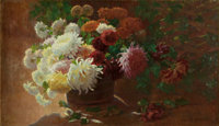 ALICE BROWN CHITTENDEN (American, 1859-1944) Still Life With Chrysanthemums Oil on canvas 27-1/2