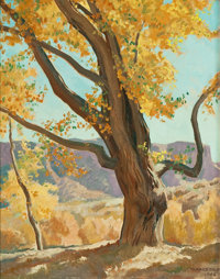 MAYNARD DIXON (American, 1875-1946) October Morning, 1940 Oil on board 19-1/2 x 15 inches (49.5 x