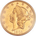 Liberty Double Eagles, 1865-S $20 AU55 NGC....