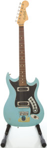 Musical Instruments:Electric Guitars, 1960's Hagstrom II Daphne Blue Solid Body Electric Guitar,#632991....