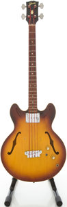Musical Instruments:Electric Guitars, 1966 Gibson EB-2 Sunburst Semi-Hollow Body Electric Guitar,#408221....