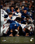 Baseball Collectibles:Photos, 1986 New York Mets Team Signed Oversized Photograph - WorldChampionship Season!...