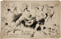 Original Comic Art:Illustrations, Tom Doerer Jack Dempsey vs. Gene Tunney Boxing SportsCartoon Original Art (Baltimore American, c. 1926)....