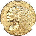 Indian Half Eagles, 1908-S $5 MS62 NGC....