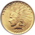 Indian Eagles, 1907 $10 No Periods MS66 PCGS. CAC....