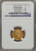 Classic Quarter Eagles, 1839-O $2 1/2 -- Repaired -- NGC Details. AU. Breen-6153, Variety-28, R.4....