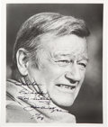 Movie/TV Memorabilia:Photos, A John Wayne Signed Black and White Photograph, 1978....
