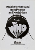 Music Memorabilia:Autographs and Signed Items, The Who - Keith Moon Signed Premier Percussion Advertisement....