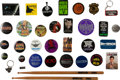 Memorabilia:Movie-Related, Movie Promo Pinback Button and Drumsticks Group (1980s-2000s)....(Total: 34 Items)