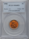 Lincoln Cents: , 1946 1C MS66 Red PCGS. PCGS Population (445/7). NGC Census: (1310/62). Mintage: 991,654,976. Numismedia Wsl. Price for prob...