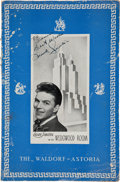 Movie/TV Memorabilia:Memorabilia, A Frank Sinatra Signed Menu from The Waldorf-Astoria Hotel, 1943....