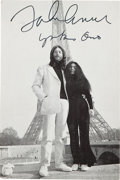 Music Memorabilia:Autographs and Signed Items, A John Lennon and Yoko Ono Signed Black and White Image, Circa1969....