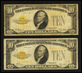 Small Size:Gold Certificates, Fr. 2400 $10 1928 Gold Certificates. Two Examples. Very Good-Fine or Better.. ... (Total: 2 notes)
