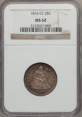 Seated Quarters: , 1876-CC 25C MS62 NGC. NGC Census: (24/104). PCGS Population(31/101). Mintage: 4,944,000. Numismedia Wsl. Price for problem...