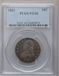 Bust Quarters: , 1822 25C VG10 PCGS. PCGS Population (11/113). NGC Census: (3/81).Mintage: 64,080. Numismedia Wsl. Price for problem free N...