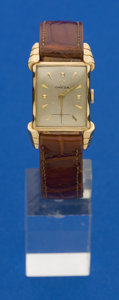 Timepieces:Wristwatch, Omega 14k Gold Vintage Rectangular. ...