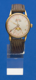 Timepieces:Wristwatch, Mathey Tissot 14k Gold Triple Calendar With Moon Phase. ...