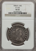 Early Half Dollars: , 1806/5 50C VF25 NGC. O-103. NGC Census: (16/900). PCGS Population(18/115). Numismedia Wsl. Price for problem free NGC/PC...