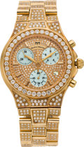 Estate Jewelry:Watches, Technomarine Gentleman's Diamond, Mother-of-Pearl, Gold Diva Chronograph Wristwatch, modern. ...