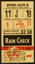 Baseball Collectibles:Tickets, 1961 Minnesota Twins First Game Ticket Stub....