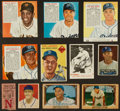 Baseball Cards:Lots, 1950's Topps, Bowman, Red Man Baseball Card Collection (28) PlusJuly 1955 Ticket Stub. ...